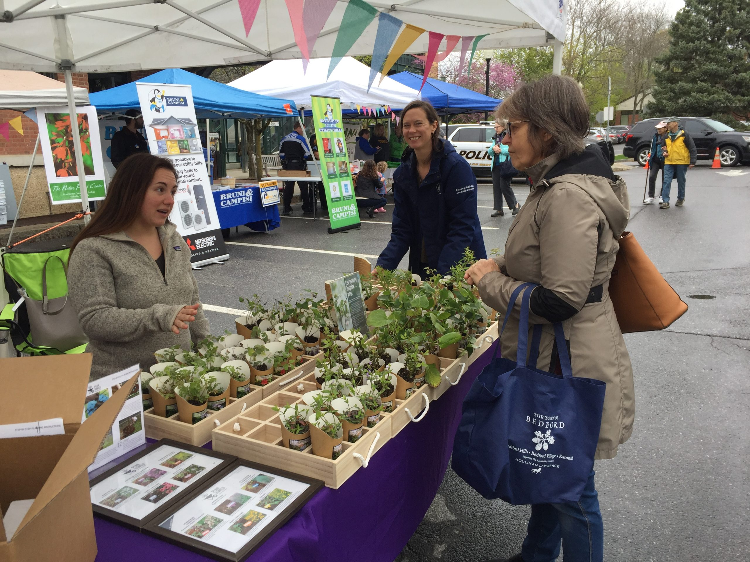 visitors at Earth Day festival look at plants for sale